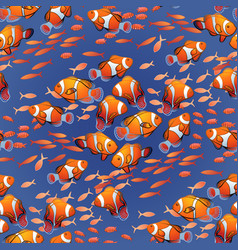 Graphic ocean fish pattern vector