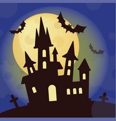 halloween castle mystic holiday cartoon vector image