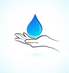 hands protecting water concept icon vector image