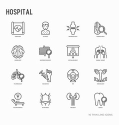 Hospital thin line icons set vector