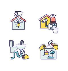 House maintenance rgb color icons set vector