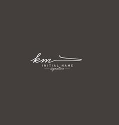 Initial letter km logo - handwritten signature vector