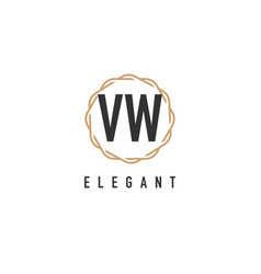 Initial letter vw luxurious minimalist elegant vector