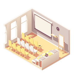 Isometric office presentation room interior vector