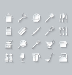 Kitchenware simple paper cut icons set vector