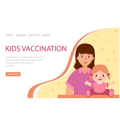 Landing page kids vaccination mom and child in vector
