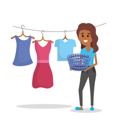 laundry equipment and woman doing a domestic job vector image