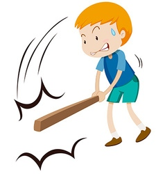 Little boy hitting something with wooden stick vector