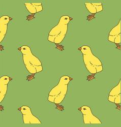 little chicken seamless pattern vector image