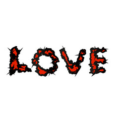 love script with thorns grunge style vector image