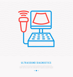 medical ultrasound diagnostic equipment line icon vector image