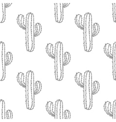 Mexican Cactus seamless pattern Hand drawn desert vector image