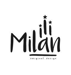 milan city name original design black ink hand vector image
