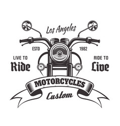 motorcycle front view vintage emblem vector image