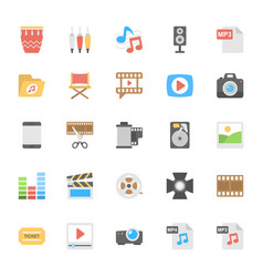 multimedia flat colored icons 2 vector image