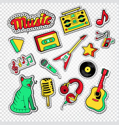 musical doodle with music instruments vector image