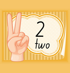 Number two hand gesture vector