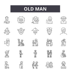 old man line icons signs set outline vector image