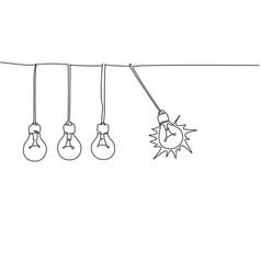 one continuous line drawing pendulum light vector image