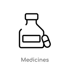 Outline medicines icon isolated black simple line vector