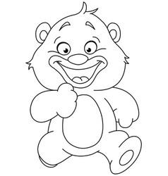 outlined running teddy bear vector image