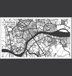 Palembang indonesia city map in black and white vector