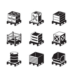 Pallets with containers for different goods vector