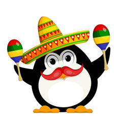 penguin with a maracas and a sombrero cartoon vector image