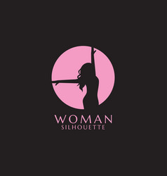 Pink woman silhouette vector