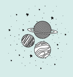 Planets and stars in space design vector