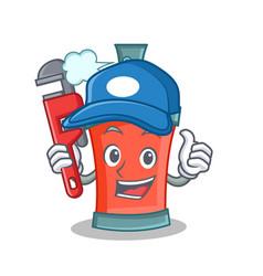 Plumber aerosol spray can character cartoon vector
