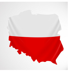 Poland flag in form of map republic of poland vector