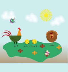 poultry farming chicken family isolated on white vector image