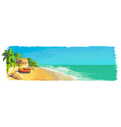 Quiet private sunny tropical beach landscape with vector
