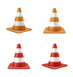 red and orange road cones realistic vector image