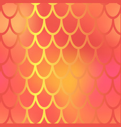 red and yellow mermaid scale seamless pattern vector image