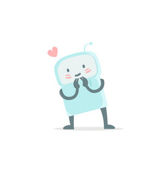 Robot toy love you and shy cute small new emoji vector