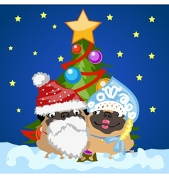 Santa Claus and snow maiden with Christmas tree vector image