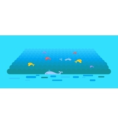 Sea or Ocean Template In Flat Style Design vector