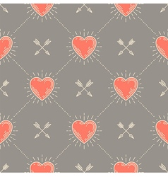 Seamless background with hearts and arrows vector