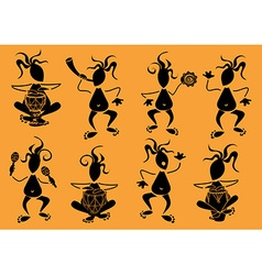 Set funny african musicians icons vector