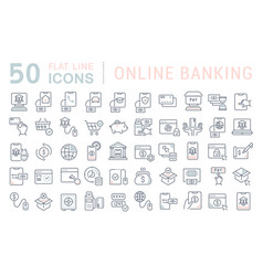 Set line icons online banking vector