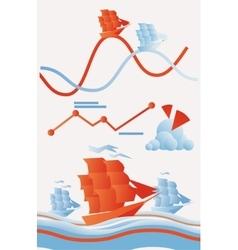 set marine trade infographics elements vector image