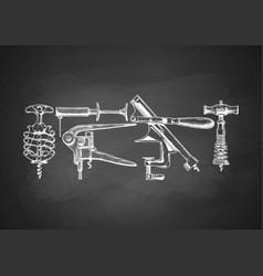 set of corkscrews on chalkboard vector image