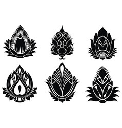 Set of decorative lotuses vector