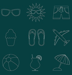 Set of icons of Summer travel theme Simple line vector image