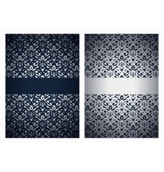 Silver and dark blue greetings vector image