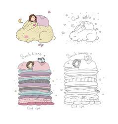 Sleeping girls set princess on pea time vector