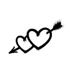 Sprayed heart pierced an arrow vector