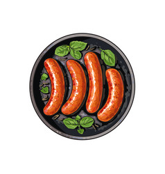 Top view of four grilled sausages on frying pan vector